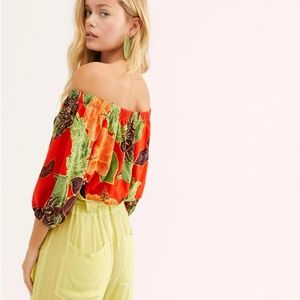 Free People Electric Day Blouse tropical red off s